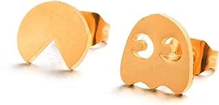 2019 creative pacman stud earrings Silver golden geometric earring jewelry brincos boucle d'oreille pendientes aretes