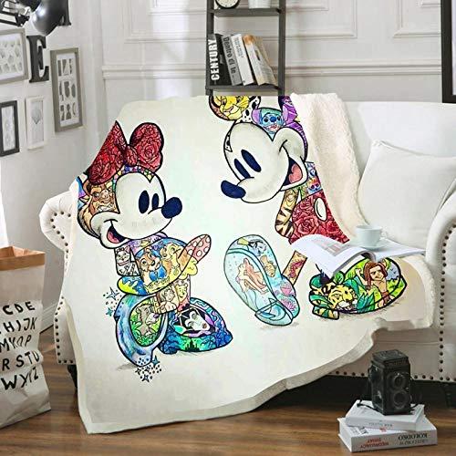 WTTING Decke aus Mickey und Minnie Mouse von Disney, Decke aus Flanell, 3D-Druck, für Sofa, Bett, Wohnzimmer, für Erwachsene und Kinder, 150 x 200 cm