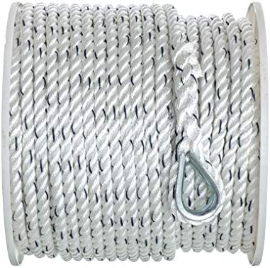Seachoice 47781 Premium Anchor Rope for Boating 3 Strand Twisted Nylon Anchor Line Inch x 250 product image
