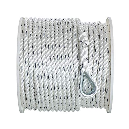 SEACHOICE 47781 Premium Anchor Rope for Boating - 3-Strand Twisted Nylon Anchor Line, ½-Inch x 250 Feet, White/Blue, One Size