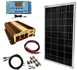WindyNation 100 Watt Solar Panel Kit with 1500W VertaMax Power Inverter for RV, Boat, Off-Grid 12 Volt Battery Systems