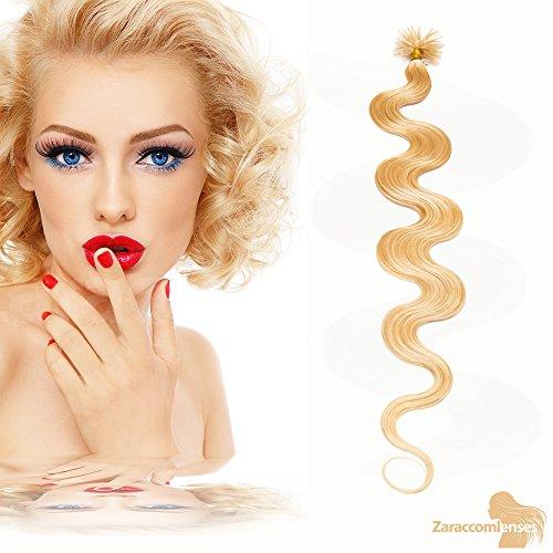 Keratin bondings Hair Extensions U Tip de 24 Blond moyen – 100% Remy Hair Mèches cheveux 60 cm/1G Poids