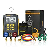 Refrigeration Digital Manifold Gauge Meter HVAC Vacuum Pressure Temperature Tester Kit with Test Clip and Pipe for Testing Maintaining Air-Conditioner, Refrigerator