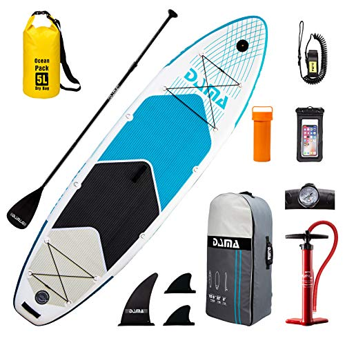 """DAMA Inflatable Paddle Boards Stand Up(10'6""""x33""""x6""""), Reinforced Drop Stitch, Wide Board, Camera Seat, Floating Paddle, Double Action Hand Pump, Board Carrier, Dry Bag, for Beginner, Durabl & Stable"""