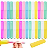 Oomcu Pack of 30 Travel Toothbrush Case Holder, 6 Color Plastic Toothbrush Case Portable Toothbrush Storage for Home and Outdoor