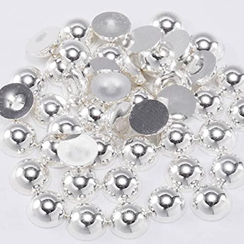 50-500 pz multicolor imitazione perla semicircolare retro piatto resina perla colla strass tallone chiodo chiodo artigianato decorazione fai da te-argento, 6mm 100 pz