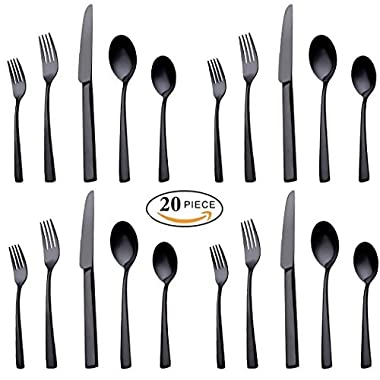 20-Piece Stainless Steel Flatware Silverware Set Service for 4 Dinnerware Mirror Polished Include Knife/Fork/Spoon Dishwasher Safe (Black)