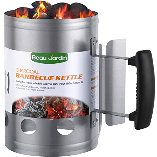 "BEAU JARDIN Charcoal Chimney Starter 11""X7"" Grill Barbecue BBQ Galvanized Steel Chimney Lighter Basket Outdoor Cooking Quick Rapid Fire Briquette Starters Can Canister for Grilling Camping Accessories"