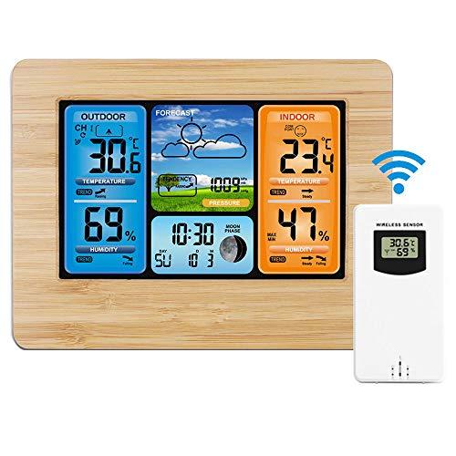 Powcan Wetterstation mit Außensensor Innen und Außen Funkwetterstation mit Farbdisplay mit Alarm und Temperatur/Luftfeuchtigkeit/Luftdruck/Vorhersage/Mondphase/Wecker
