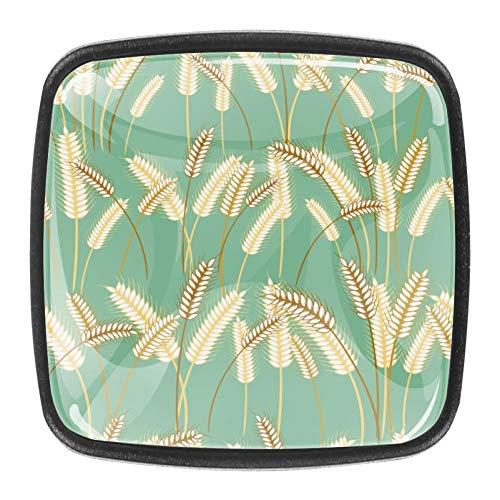 4er Pack Kommode Knöpfe Quadratische Schublade zieht Griff mit Schrauben für den Küchenschrank zu Hause - Gerstengras tanzte im Wind des Frühlings