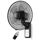 Wall Mount Fan, Pro Series Heavy Duty Metal Wall Mount Fan for Industrial, OIndustrial shaking head hanging large fan with remote control and timers (Size : Remote)