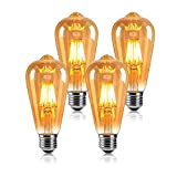 2021 Vintage Edison Bombilla de luz LED, E27 Tapa de bayoneta ST64 Bombilla de...
