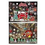2 Rollos Pegatinas de Navidad Estáticas Extraíbles de PVC Pegatinas Estáticas Navideñas Reutilizables Pegatinas Navideñas para Vidrio de Ventana con Calcomanías Copos de Nieve Navideños para Ventanas