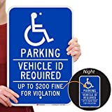 SmartSign 'Handicapped Parking - Vehicle ID Required, $200 Fine' Sign | 12' x 18' 3M Engineer Grade Reflective Aluminum