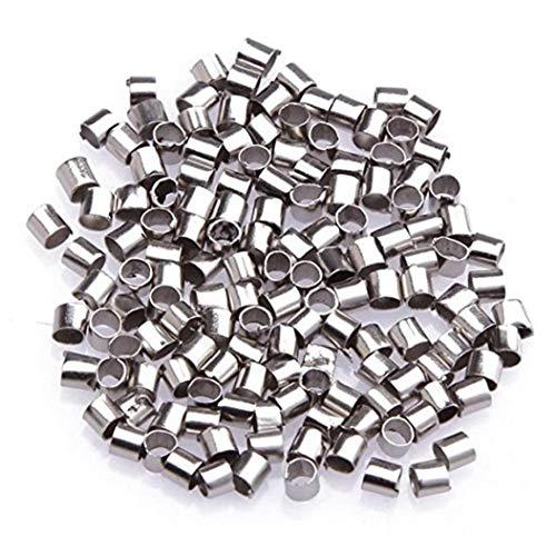 NaisiCore Cobre Grano de la encrespadura de 2 mm Tubo de Plata Corte Listones Hechos a Mano para la fabricación de la joyería de la joyería DIY Accesorios 500Pcs Conjunto de joyería