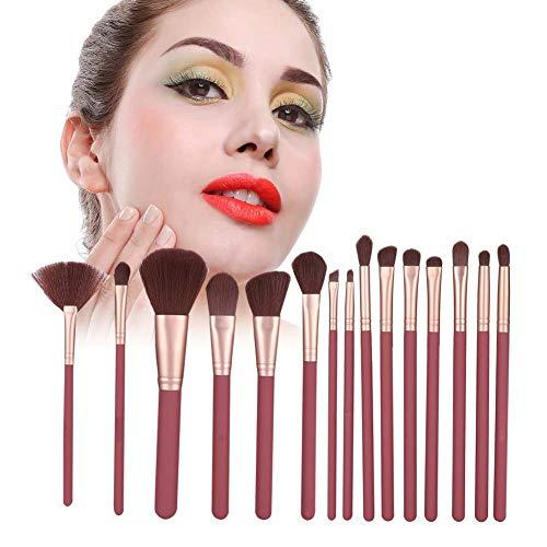 Cepillo de maquillaje, mezcla fina Polvo de cara Tubo de aluminio Fibra de pintura de goma (rojo)