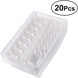 SUPVOX 20pcs Disposable Plastic Tattoo Needle Cartridge Container Ink Cups Pigment Rack Holder Tray Tattoo Accessories (Transparent)