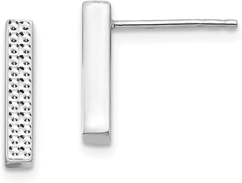 14k White Gold Textured Bar Post Stud Earrings Ball Button Fine Jewelry For Women Gifts For Her
