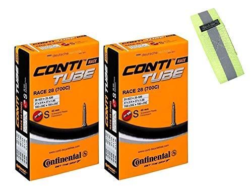 Bike A Mile Continental GatorSkin Fahrradreifen, faltbar, mit reflektierendem Armband (2 Schläuche Presta-Ventil, 42 mm, 700 x 25 mm)