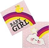 Neu: 12 Servietten * Schnuller-Alarm - Rosa * für Einen Süßen Kindergeburtstag | Party Baby Girl Mädchen Geburt Kinder Geburtstag Einweg Napkins Motto Pink