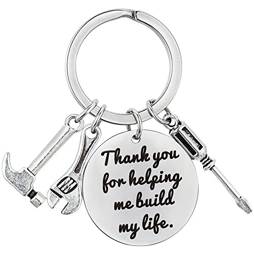 AnotherKiss Keychain for Dad Gift - Thank You for Helping Me Build My Life