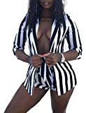 Blazer Suits 2 Piece Outfits Sexy Long Sleeve Jacket Shorts Set Belted Black XXL