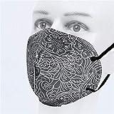 JIujiuwanli 5/10/20/50/100 Stück MNS Pro Erwachsene_5 Lagige Design_𝙁𝙁𝙋𝟮_&_𝓜und𝙨chutz Schwarz Blätter Muster mit Nasenbügel hoher Filtrationskapazität Halstuch für Damen Herren