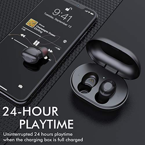 Wireless Earbuds, Comeproof Bluetooth Earbuds Deep Bass HiFi Stereo Sound 24H Playtime Bluetooth Headphones in Ear with Charging Case and Built in Mic for Sports Running. 5