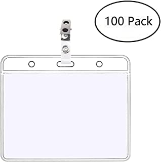 100 Pack 4x3 ID Card Badge Holders & Metal Id Badge Holder Clips, Horizontal Name Tags Hole Punched Zipper Waterproof Resealable Clear Plastic Labels Credit Card Holder