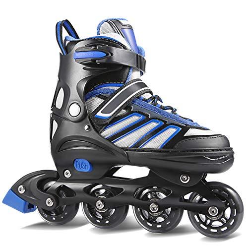 WeSkate Inline Skates Kinder/Erwachsene verstellbar mädchen/Jungen Inline Skates Rollschuhe PU Verschleißfeste Roller Skates Herren/Damen (Blau-Schwarz, Erwachsene 38-41)