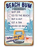 Tamengi Metal Sign - Beach Bum Checklist - Durable Metal Sign - Use Indoor/Outdoor-Great Gift and Decor for Bar, Man Cave, Home, and Surfer 8 in X 12 In, Wall Art Decor