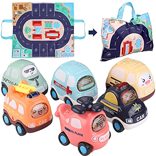 Baby Toy Cars for 1 Year Old Boy with Play Mat Storage Bag, 6PCS Push and Go Car Toddler Toy Friction Powered Cars, Kids Toy for 1 2 3 4 5 Year Old Boys Girls Early Educational Children Birthday Gift