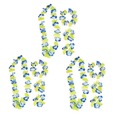 Amosfun Hawaiian Luau Blume Leis Jumbo Halskette Armbänder Stirnband Set Hawaiian Hula Kostüm Partydekorationen Liefert (Blau Und Gelb) 3 Sätze