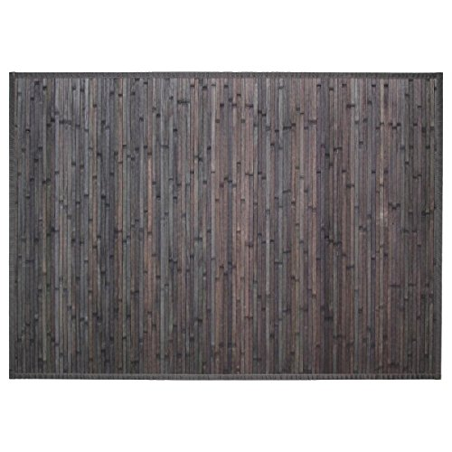 PEGANE Tapis en Bambou Latte Coloris Gris Foncé - L170 x l120 cm