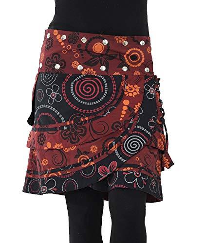 PUREWONDER Damen Wickelrock Baumwolle Rock mit Tasche sk182 Rot Einheitsgröße verstellbar