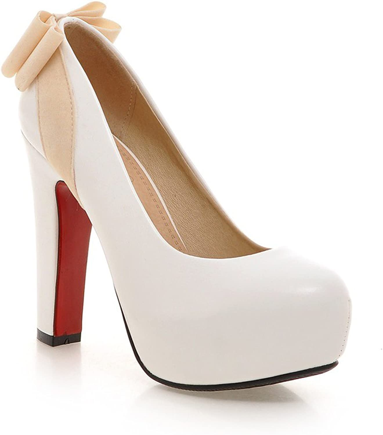 Lucksender Womens Round Closed Toe High Heel Patent Leather Pumps shoes