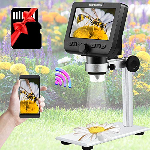 WIFI Digital Microscope Hollee 4.3'' FHD Screen LCD Digital Microscope 2MP 1000X Magnification Zoom Wireless Stereo Microscope Camera 32GB Card Compatible with Phone Windows Mac for Kids Education Lab