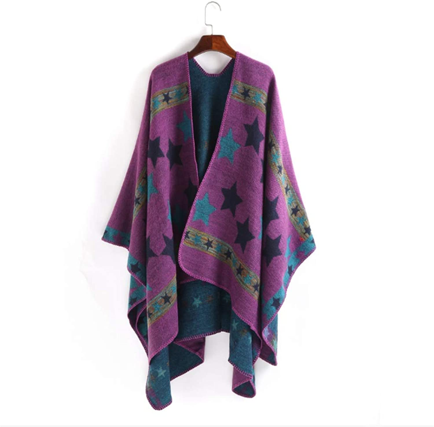 Stars Printing Design Lady Cape Simple Pure color Shawls and Wraps Scarf for Women Bohemia Shawl Wrap Scarf (color   Purple)