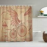 MANISENG Cortina de baño de Tela de poliéster,Diseños de bocetos de Da Vinci para Bicicletas Retro Flying Machines,con 12 Ganchos de plástico Cortinas de baño Decorativas 72x72 Pulgadas