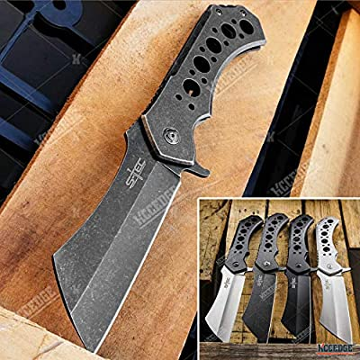 KCCEDGE BEST CUTLERY SOURCE EDC Pocket Knife Camping Accessories Razor Sharp Ball Bearing Survival Cleaver Folding Knife Camping Gear Survival Kit 55211 (Stonewash Grey)