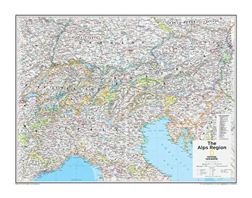 National Geographic: The Alps Region Mapa de pared – 28 x 22 pulgadas – Papel enrollado