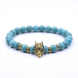 HMKLN Antique Gold-Color Dragon Head Beaded Bracelet Black Lava Stone Bead Bracelets For Men Women Charm Jewelry Bracelets