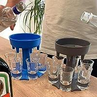 6ショットガラスディスペンサーとホルダー – 液体充填用ディスペンサー、ショットディスペンサー、複数の6ショットディスペンサー、バーショットディスペンサー、カクテルディスペンサー(グレー)(カップは含まれません)