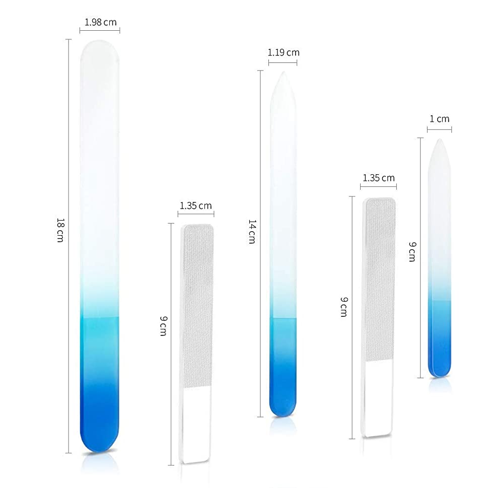 会計原点実り多い爪やすり ガラス 爪磨き ネイルファイル ガラス製 ネイルシャイナー 5点セット