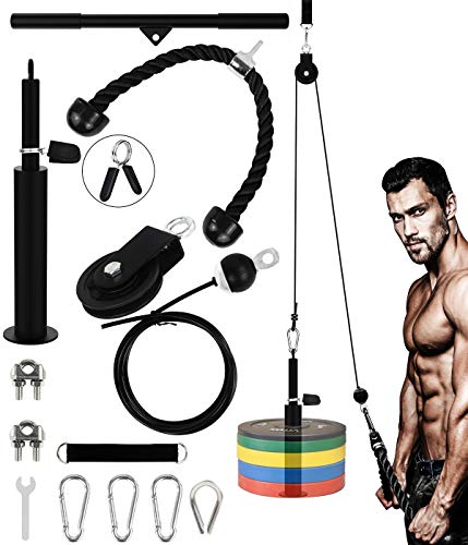 Grsta YaNovate Fitness LAT and Lift Pulley System with Loading Pin Tricep Strap Bar Cable Rope Machine for Muscle Strength, Home Workout Gym Equipment for Pull Downs, Biceps Curl, Forearm, Shoulder