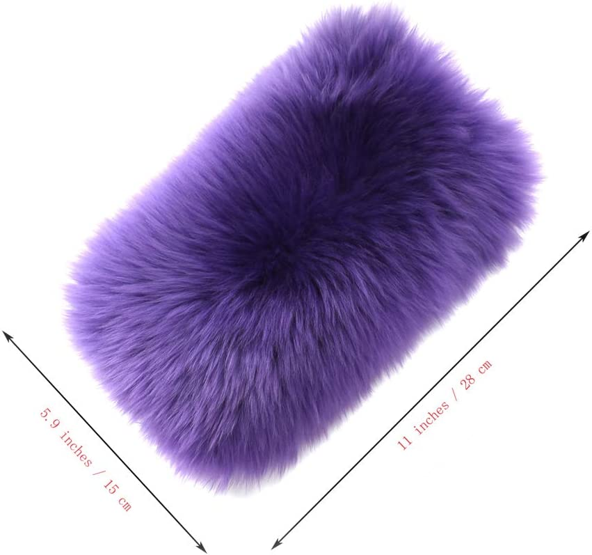 Universal Fit Furry Armrest Cover for Car Real Sheepskin Wool Fur Soft Fluffy Auto Center Console Cover Black