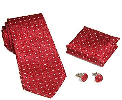 MONETTI Set de Corbata - 100% seda - modelo de color rojo con puntos blancos - en la caja de regalo!