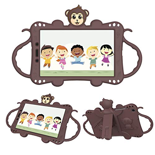 Tading Kids Case Compatible with Samsung Galaxy Tab A 8.0 2019 SM-T290/T295, Children Friendly Silicone Rubber Protective Handle Stand Cover with Shoulder Strap - Cute Cartoon Monkey, Brown