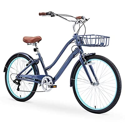 """sixthreezero EVRYjourney Women's Casual Edition 7-Speed Cruising Hybrid Bike w/Integrated Cable Lock and Basket, 26"""" Bicycle, Navy with Brown Seat and Brown Grips"""