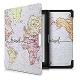 kwmobile Carcasa Compatible con Kobo Aura Edition 1 - Funda para Libro electrónico con Solapa - Mapa Mundial